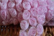 """Rose 3D 3-Row Lace Trim Flowers Rosette on Mesh Pink 1.8"""" Wide 0.9 yd Ship Fast"""
