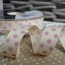 15mm Polka Dot Grosgrain Ribbon by Berisfords. Grey, Pink, Natural, Blue, Ivory