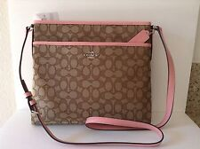 NWT Coach Outline Signature File Bag Cross-body Bag Pink Blush  F58285