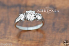 1.50 CT Three Stone Halo Round Engagement Ring 14k SOLID White Gold Bridal Band