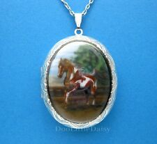 Porcelain PINTO PAINT HORSE CAMEO ST Locket Pendant Necklace for Valentine Gift