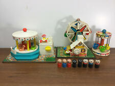 VINTAGE FISHER PRICE LITTLE PEOPLE CARNIVAL LOT FERRIS WHEEL CAROUSEL CHAIR RIDE