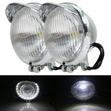 "1pair 5"" Motor LED Angel Eye Driving Spot Fog Head Light For Harley Honda Chrome"