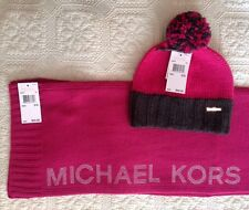 NWT WOMEN'S MICHAEL KORS FUCHSIA COLOR KNIT HAT AND SCARF