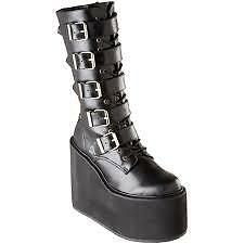Demonia by Pleaser Women's Swing-220 5 Buckle Platform Boot,Black PU,8 M US
