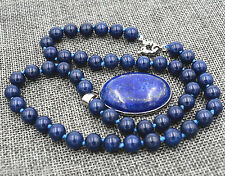 "New 10mm Blue Egyptian Lapis Lazuli Gemstone Beads Oval Pendant Necklace 18"" AAA"