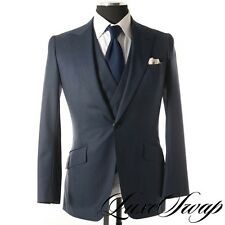 SMALL GUYS WW Chan Bespoke Navy Blue Nailhead 3 Piece Suit Vest Jacket Pants NR
