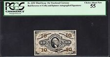 Us 10c Fractional Currency Red Back Fr 1253 Pcgs 55 Ch Au