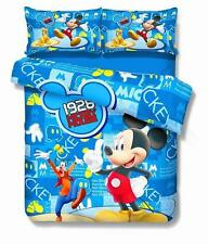 Mickey Mouse and Goofy - Blue Red White - Single Twin 4 Pc Duvet Set - Kids -