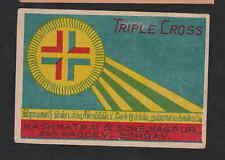 Ancienne  étiquette   allumettes de paquet Inde   BN3762 Triple Cross