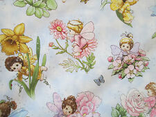 FAIRY BABY FAIRIES FLOWERS GLITTER LIGHT BLUE COTTON FABRIC FQ