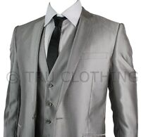 Mens Slim Fit Silver Grey 3 Piece Suit Self Stripe Work or Wedding Party Prom