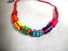 PINK MACRAME w COLORFUL RAINBOW COLORS WOODEN BEADS TIE ON BRACELET OR ANKLET