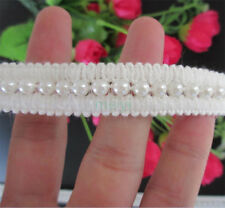 1 yd Vintage Pearl Embroidered Lace Edge Trim Wedding Ribbon Applique DIY Sewing