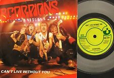 "THE SCORPIONS can't live without you HAR 5221 clear vinyl uk 1982 7"" PS EX/VG"