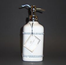 NEW HOTEL COLLECTION WHITE+SILVER CERAMIC+CRYSTALS,BATHROOM SOAP DISPENSER