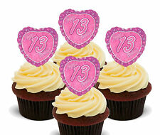 13th Birthday Girl Heart Edible Cupcake Toppers, Standup Wafer Cake Decorations