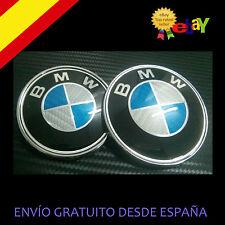 PACK EMBLEMA LOGO CARBONO BMW DE 74MM + 82MM capo y maletero FIBRA AZUL lote