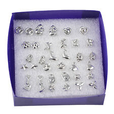 Chic Women Girl 18 Pairs/Lot Mix Styles Pretty Silver Plated Stud Earrings