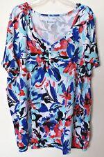 Women's 3X Fit 4X Floral Henley Knit Top Shirt Bust 64 Length 32 ROAMAN'S Casual