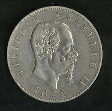 RARE : Italie : 5 Lire Argent 1872 R Rome ; 29000 Ex