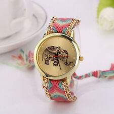 Women Bracelet Watch Elephant Pattern Weaved Rope Dial Quartz Watch Trusty