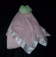 HALLMARK PINK GIRL BABY GREEN FROG SECURITY BLANKET STUFFED PLUSH TOY SATIN TRIM