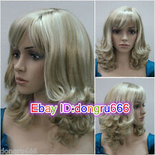 Curly Women Female Lady Blonde mixed Hair Wig Perruque Good quality+wag cap gift