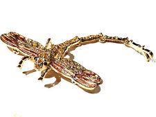 """Bijoux Alliage Doré  Broche Libellule - Brooch Dragonfly """" Swarovski  No 3 (P 1)"""