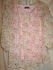 WOMEN'S SIZE L PULLOVER TOP SHEER & DELICATE LACE & CAMI UNDERNEATH 3/4 SLEEVE