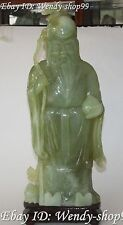 "22"" Chinese Natural Green Jade Carving Stand God Of Longevity Immortal Statue"