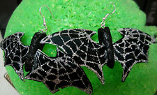 UNIQUE BIG Black Bat feathers COSTUME 925 EARRINGS HALLOWEEN nora winn