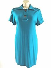 Chico's 3 dress XL turquoise blue 2 big button shirt tunic stretch midi pockets