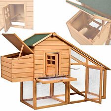 Deluxe Chicken Coop Nesting Box Rabbit Hutch Cage Wooden Hen House Poultry Hut