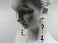 14kt Yellow Gold Dangling Earrings, Pear Drop Amethyst, Round Genuine Peridot