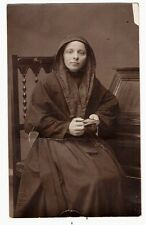 ANTIQUE REAL PHOTO POSTCARD NUN YOUNG LADY BLACK DRESSED