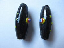 2 40mm lampwork glass black melon oval beads
