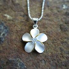 20mm LARGE 2 Tone Plumeria Hawaiian Flower Genuine Silver Pendant Necklace 43905