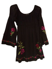 Embroidery Floral Top Womens Western Black R U Apparel Size M New Cowgirl