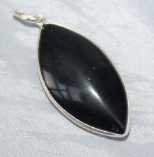 Blue Goldstone Crystal Drop Pendant Brazilian Sterling Silver Reiki Blessed