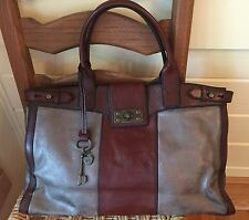 FOSSIL VINTAGE REISSUE Distressed Pewter & Brown Leather Shopper Tote Purse Bag
