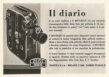 W2487 Zeiss Ikon MOVIKON 16 - Il diario... - Pubblicità 1938 - Old advertising