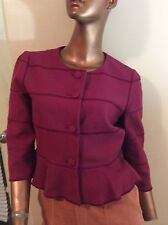 Red Valentino Raspberry Textured Cotton Linen Beautiful Jacket 4-6 Italy