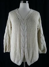 Altar'd State M L ivory cream cable knit boxy oversize slouch sweater womens