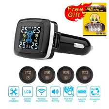 Car Tire Pressure LCD Display Monitoring System Wireless 4 External Sensors TPMS