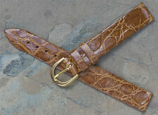 Genuine Crocodile tan 14mm vintage strap for early tank watches Made in Italy