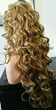 Beautiful Lace Front Wig Blonde Mix/ Medium Brown Nape Long Curly Ht Safe