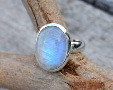 STERLING SILVER BIG NEPALI RAINBOW MOONSTONE SOLID SILVER RING SIZE 5 6 7 8 9