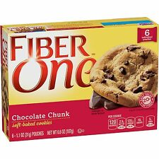 Fiber One Soft Baked Cookies Chocolate Chunk Cookie 6 Count 6.6oz Box 48037  XCL