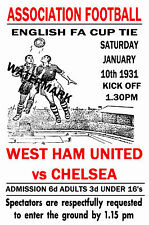WEST HAM UNITED - VINTAGE 1930's STYLE MATCH POSTER